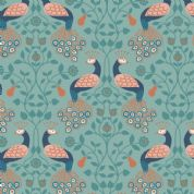 Lewis & Irene Cheiveley - 5639 - Navy Peacocks on Duckegg (Metallic) - A245.2 - Cotton Fabric